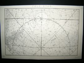 Astronomy C1875 Antique Map. The Pole Star